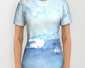Designer Clothing - Ocean Wave Painting - Artistic All Over Printed T Shirt