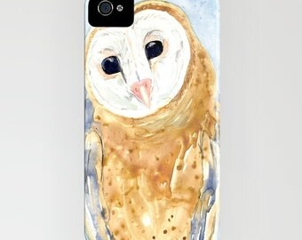 Owl Phone Case - Widllife Watercolor Painting - Designer iPhone Samsung Case