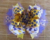 2616 LSU tigers double boutique hair bow
