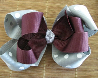 2518 Aggie maroon, gray and white double boutique bow