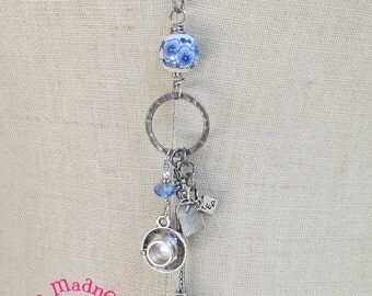 Tea Party Cluster Pendant Necklace, Blue and White Long Cluster Pendant Necklace, Romantic Necklace, Blue Willow,  MagpieMadness for Etsy