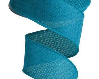 """1.5"""" Turquoise Wired Cross Royal Burlap Ribbon,  5 Yards or 10 Yard Lengths Available, Ribbon for bows, Ribbon for Wreaths"""