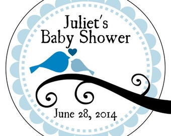 boy baby shower labels, blue baby bird stickers, custom baby shower stickers, blue baby shower stickers, 3 sizes available