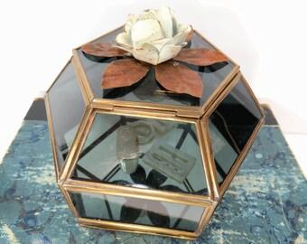 Vintage Glass Jewelry Display Case, Smoky Blue Gray, Hexagon Shape, Trinkets, Jewelry, Keepsakes