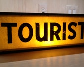 Vintage Double-Sided Lighted Tourist Sign