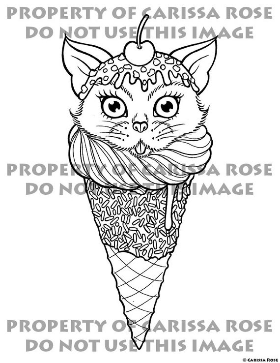 digital download print your own coloring book outline page kitty cone by carissa rose cute cat ice cream cone tattoo art - Print Your Own Coloring Book