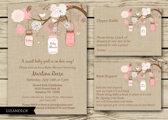 rustic girl baby shower invitation diaper raffle book jar pink