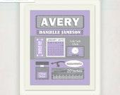 Girl's Birth Announcement Poster Nursery Art // Personalized Baby's Purple Grey Gift // Modern Birth Print // Children's Name illustration