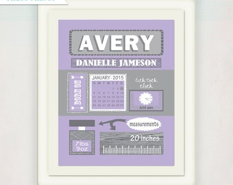 Girl's Birth Announcement Poster Nursery Art // Personalized Baby's Purple Grey Gift // Modern Birth Print // Children's Name illustration