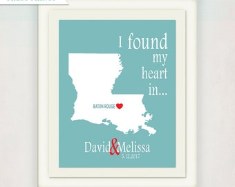 Wedding Gifts Print // Personalized State & City Print // I Found My Heart In... custom colors // Anniversary Gift Print // Teal and Red