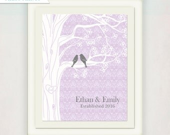 Custom Family Tree with Birds Print // Purple & Grey Personalized Wedding/ Anniversary/ Housewarming Gift with Family Name Initials and Date