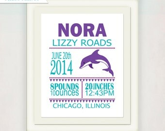 Dolphin Birth Announcement Print // Baby Nursery Wall Art // Custom New Baby Gift // Kids Nursery Art // Purple and Blue Nursery Print