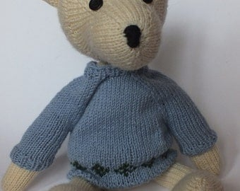 teddy bear Augustus the bigger in blue jumper