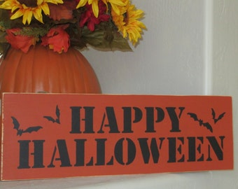 Happy Halloween Wooden Sign - Happy Halloween Sign - Wooden Sign, Halloween Decoration