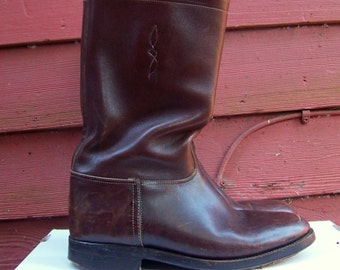 Vintage Mens Auburn Argentinian Tall Cowboy Riding Boots Mens 9