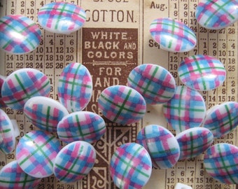 Adorable Vintage Plaid Plastic Buttons...new old stock..1950...pink blue green...lot of 40