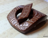 Chocolate Brown Textured Toggle Clasp Handmade Polymer Clay