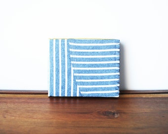 Upcycled Grey and White Striped Cloth Mens Bifold Wallet with Saffron and Navy Interior