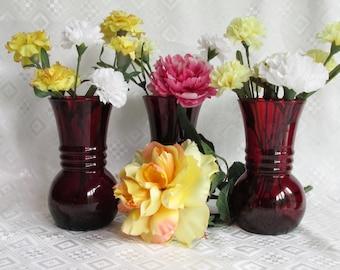 Vintage Royal Ruby Ribbed Vase by Anchor Hocking Set of 3 Bulbous