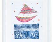 Naviguer sur le tirage d'Art nautique pour enfants