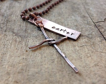 Men's Name Necklace with Cross Charm, Rustic Copper Charms, Antique Copper Necklace, Christian Jewelry, Personalized Gift