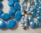 3 Lovely old pieces of Costume Jewelry Vintage unique blue beaded necklaces