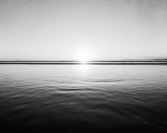 "Ocean Black And White Photography, Seascape, Ocean Landscape, Waves, Water, Dark Wall Art,  ""Reflecting Sun"""