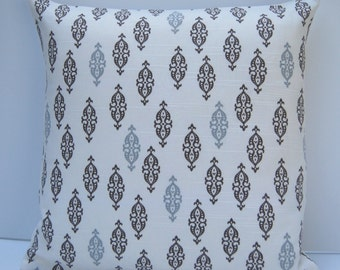 Brindle Geometric Pillow Cover, Taupe & Gray Throw Pillow, 16x16 Pillow, Cocoa Brown Cushion