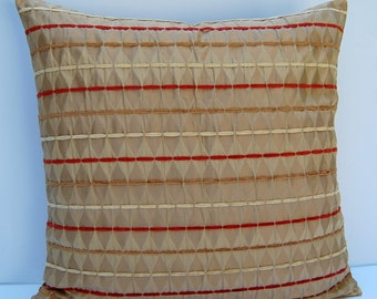 Striped Decorative Pillow Cover, Textured Throw Pillow, Orange Tan Geometric Pillow Cover, 18x18 Cushion Cover, Diamond Pillow Cover