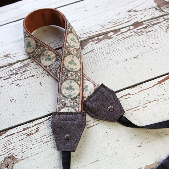 NEW - Brown and Blue Leather and Suede Camera Strap