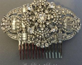 Wedding Hair Comb Art Deco Rhinestone Great Gatsby Bridal Hair Accessories vintage style veil head piece silver Bridesmaid gift gifts