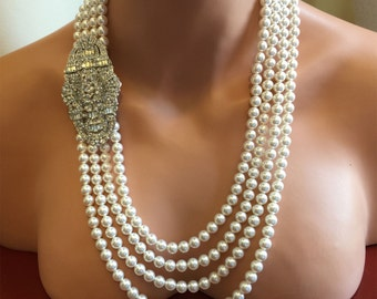 Long Pearl Flapper Necklace Great Gatsby wedding necklace with Backdrop and Art Deco rhinestone Brooch 4 multi strands Swarovski pearls