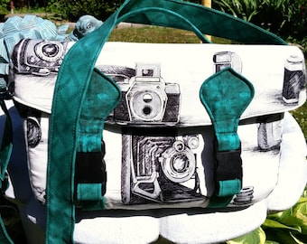 Camera Bag, Teal, Black and White Vintage Camera Fabric, Swoon Camille Camera Bag, Large Vintage Style, Custom Made to Order