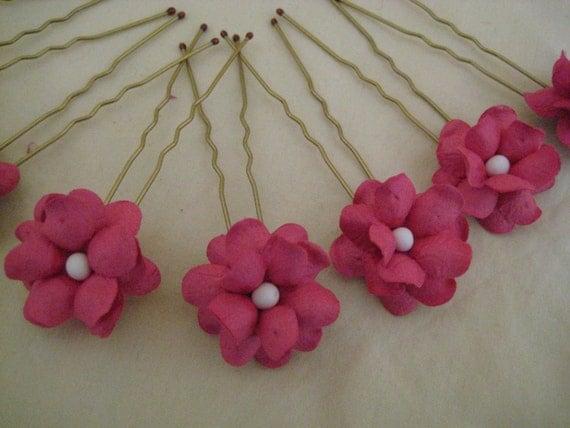 Hot Pink Flower Hairpins x 8. Wedding, Bridal, Flower Girl, Prom
