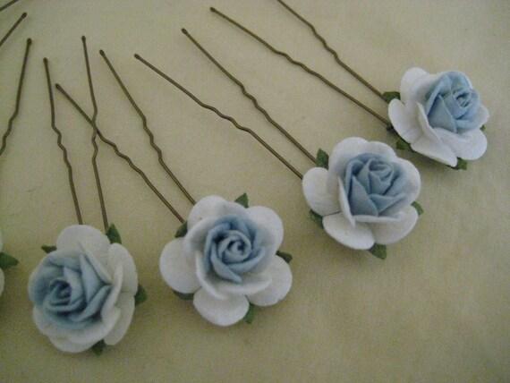 Pale Blue/White Rose Hairpins x 8. Wedding, Bridal, Regency, Victorian