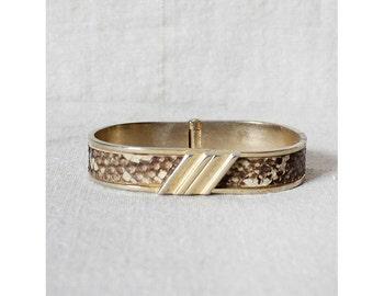 70s Snakeskin Bracelet • Brass Hinge Bangle |  B9-BR127