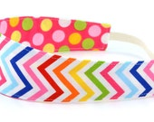Reversible Fabric Headband- Children Toddler in Remix Rainbow Chevron and Polka Dot on Pink
