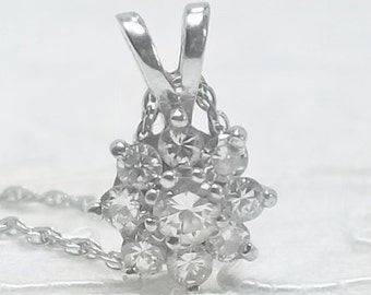 Vintage 14K White Gold and 1/3 ct. Diamond Pendant with 18 Inch Chain