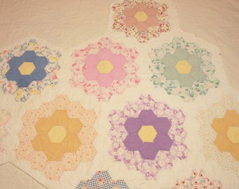 Sweet Grandmother's Flower Garden Vintage Quilt Piece with Dense Hand Quilting
