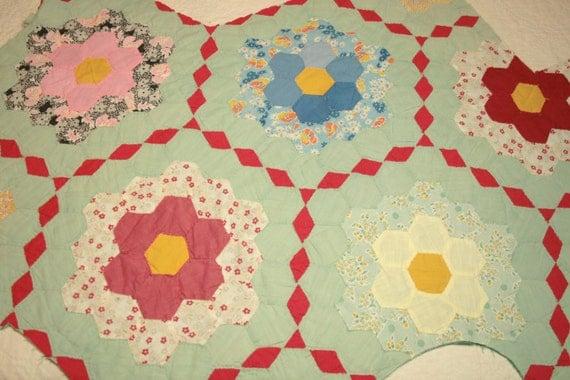 Grandmother 39 s flower garden vintage quilt piece for Grandmother flower garden quilt pattern variations