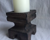 Vintage faux wood ceramic candle holder  woodland wedding