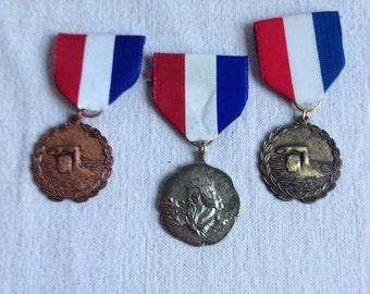 Vintage swimming medals  sports award medal