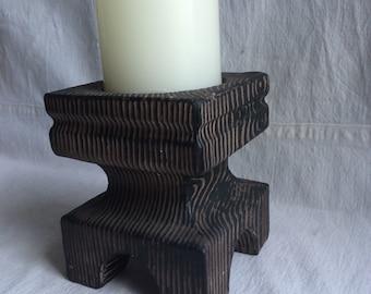 Vintage faux wood ceramic candle holder  woodland wedding