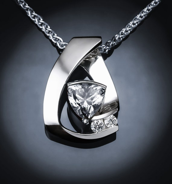 cz necklace, Argentium silver pendant, cubic zirconia jewelry, April birthday, wedding necklace, statement necklace, for her - 3452
