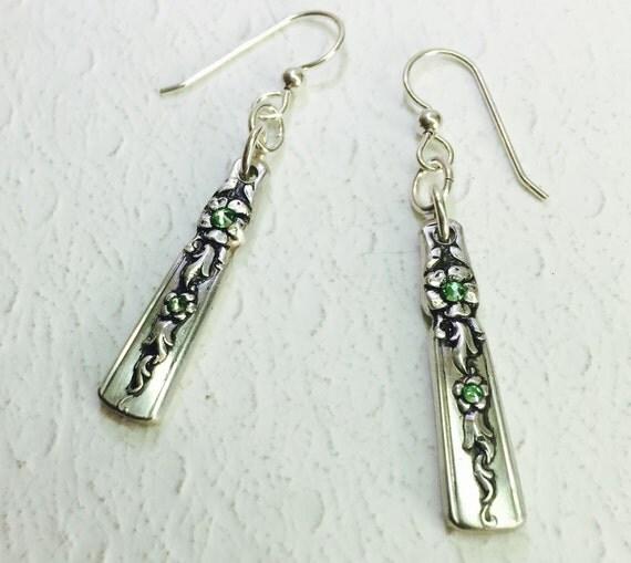 "Dangle Spoon Earrings, Peridot Crystals, ""Moss Rose"" 1949, Silverware Jewelry"