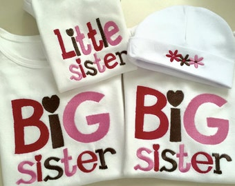 One Sibling Title Shirt or Onesie  Embroidered ,Big/Lil,Brother/Sister/Baby
