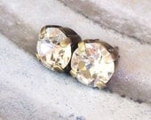 Crystal Clear Rhinestone Stud Earrings, Post, Diamond, Solitaire, Antiqued