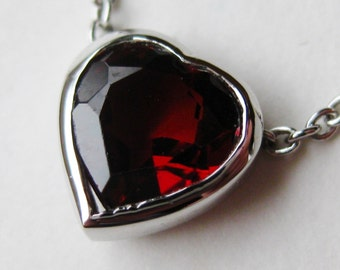 Vintage Jeweled Garnet Heart Sterling Silver Necklace Chain
