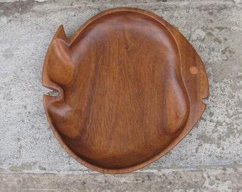 fish shaped wooden bowl monkey pod mid century beach house aquatic philcraft