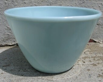 fire king turquoise splash proof mixing bowl 5 3/4 inches tall mid century kitchen